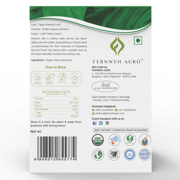 Darjeeling Upper Crust Organic Second Flush Black Tea (Loose leaf) - Fernweh Agro