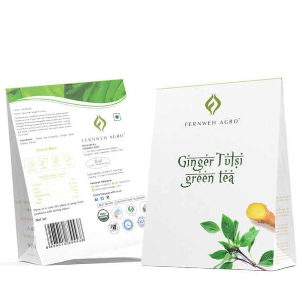 Organic Ginger Tulsi Green Tea (Loose leaf) - Fernweh Agro