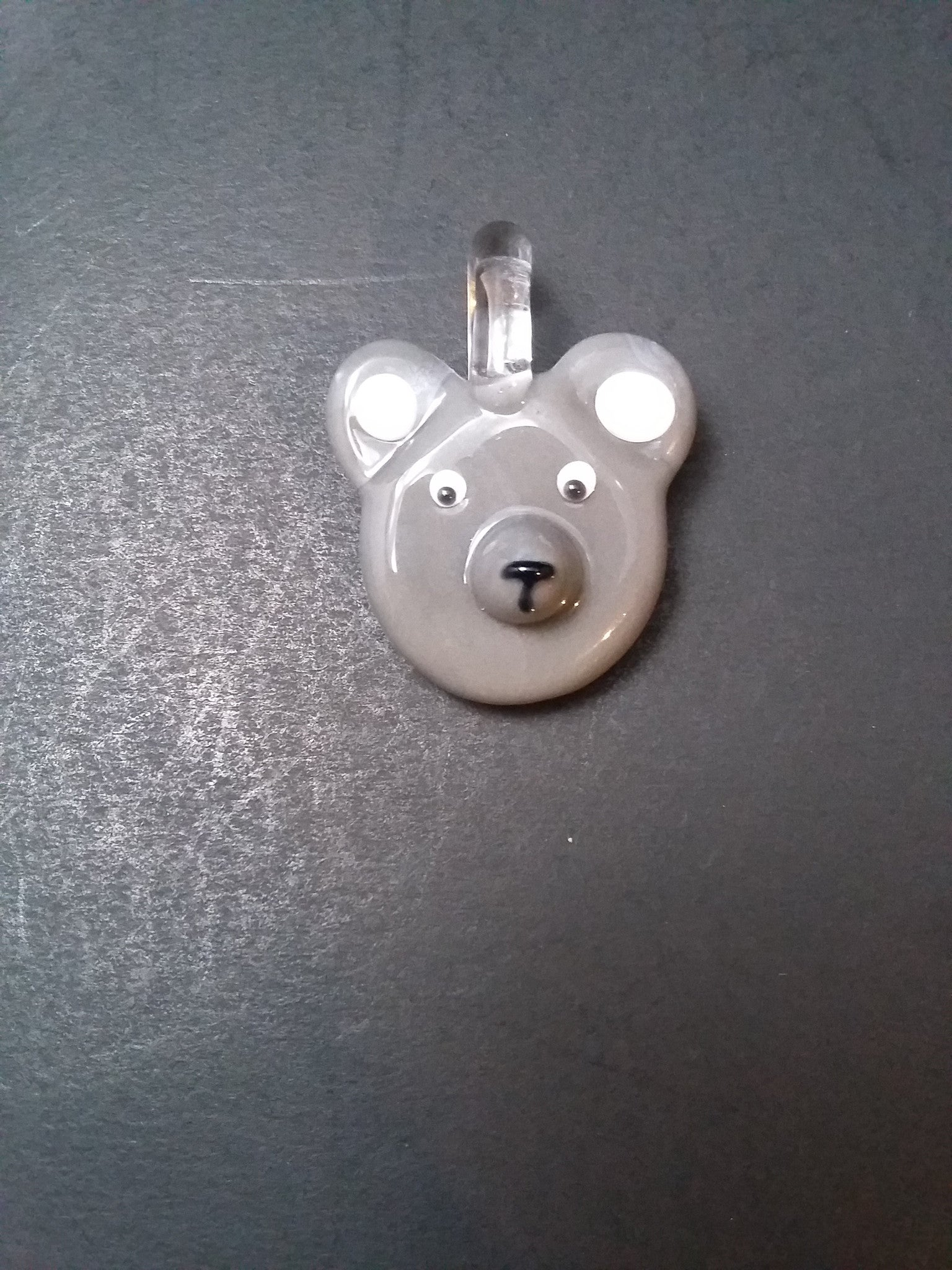 Sculpted Gray Teddy Bear Face Pendant by Nykki Knight - www.PremiumGlassPipes.com
