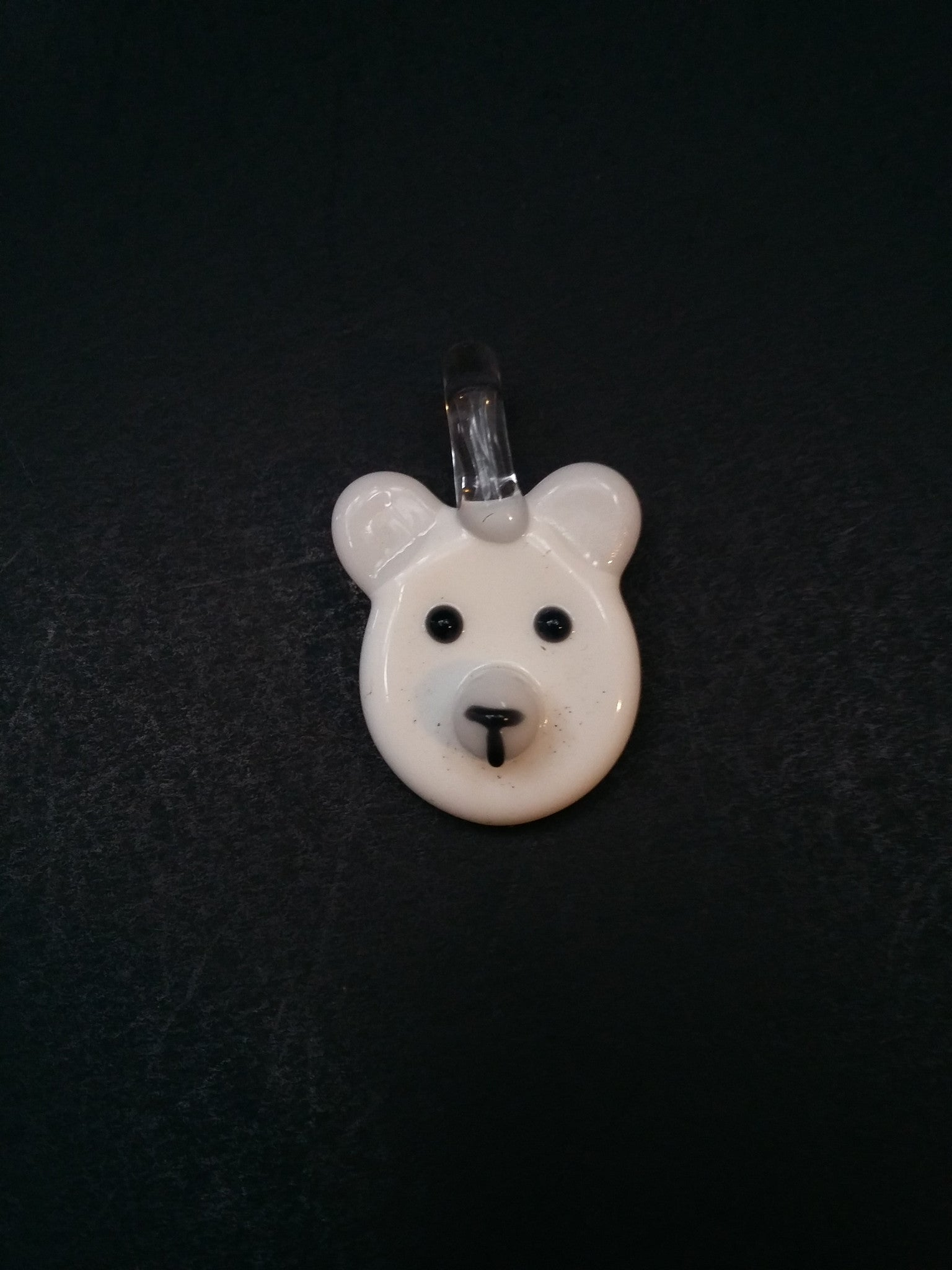 Sculpted Polar Bear Face Pendant by Nykki Knight - www.PremiumGlassPipes.com