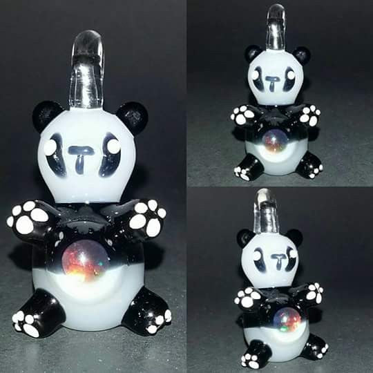 Sculpted Opal Belly Panda Bear Pendant by Nykki Knight - www.PremiumGlassPipes.com