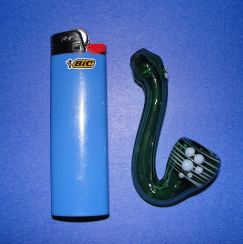 Green Mini Sherlock Glass Pipe Smoking Bowl w Sky Blue Dots and Matching Bowl Wrap (no carb) blown by MidKnightGlass