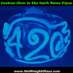 Custom Name Glow Glass Pipe Get YOUR NAME in Glow in the Dark / Blacklight Reactive Art, Smoking Bowl by MidKnightGlass - www.PremiumGlassPipes.com - 3