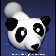 Panda Bear Spoon Style Glass Pipe Smoking Bowl Hand Blown by Jason Knight of MidKnightGlass - www.PremiumGlassPipes.com - 2
