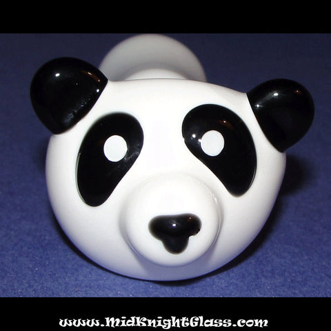 Panda Bear Spoon Style Glass Pipe Smoking Bowl Hand Blown by Jason Knight of MidKnightGlass