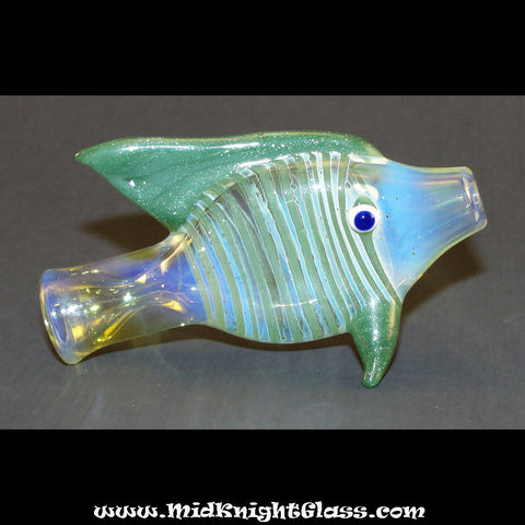 Green Sparkle Fish Style Silver Fumed Color Changing Chillum Bat One Hitter Glass Pipe Smoking Bowl Hand Blown by Jason of Midknightglass