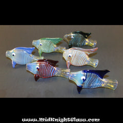 Periwinkle Purple Fish Style Silver Fumed Color Changing Chillum Bat One Hitter Glass Pipe Smoking Bowl  Blown by Jason of Midknightglass - www.PremiumGlassPipes.com - 3