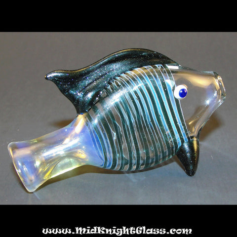Blue Sparkle Fish Bat Silver Fumed Color Changing Chillum One Hitter Glass Pipe Smoking Bowl by Jason of MidKnightGlass