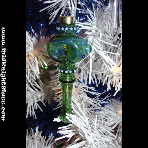 unique holiday christmas ornament spoon style glass pipe smoking bowl hand blown by jason of midknightglass