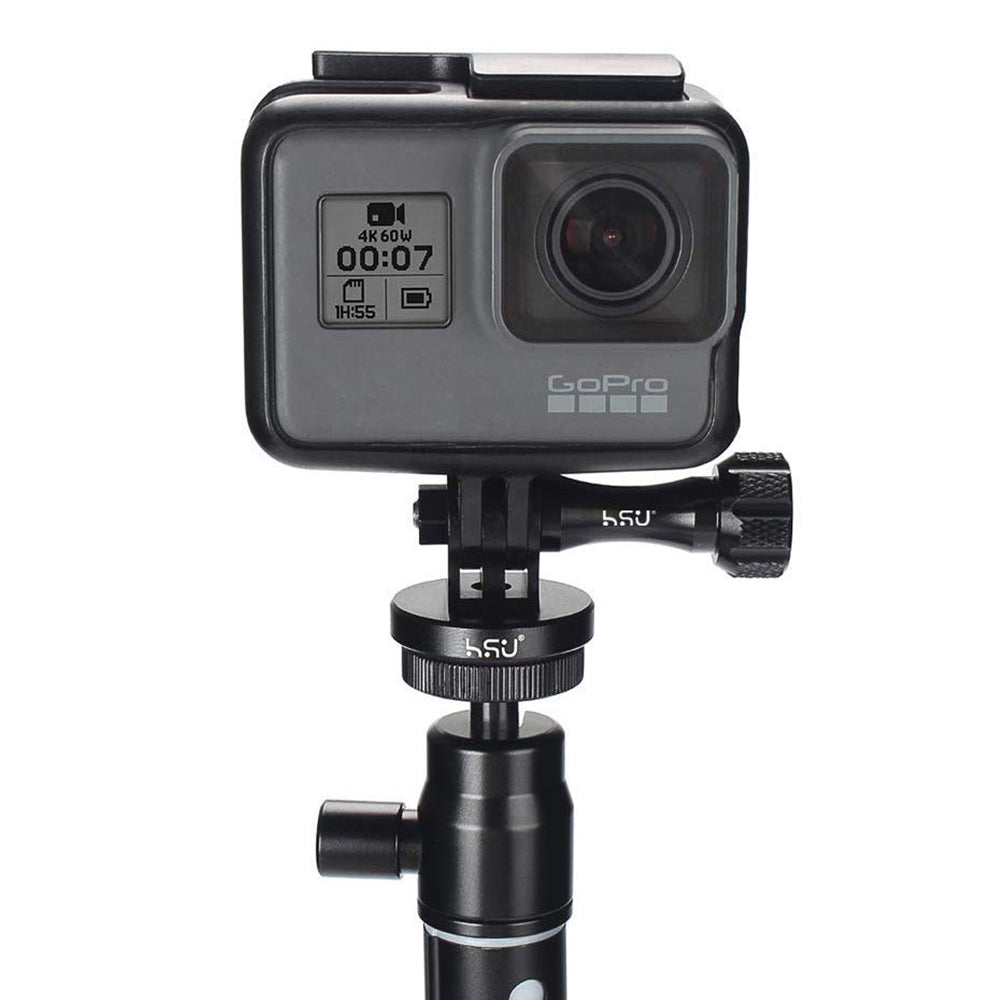HSU Aluminum Alloy Metal GoPro Tripod/Monopod Mount with Thumbscrew for Action Cameras (Black)