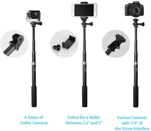 HSU Extendable Selfie Stick,Waterproof Hand Grip for GoPro Hero 9 (2018)/Hero Fusion/GoPro Hero 8/7/6/5/4/3, Handheld Monopod Compatible with Cell Phones and Other Action Camera