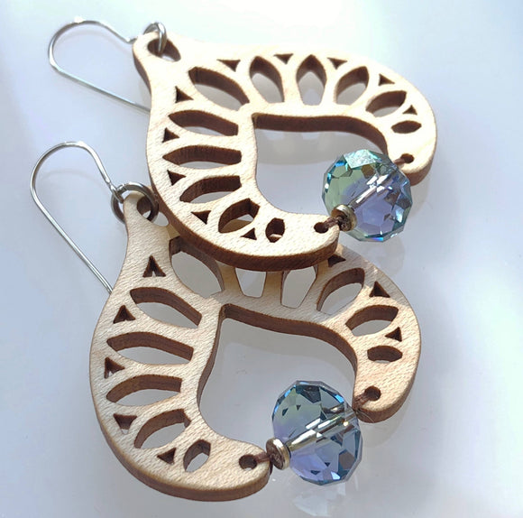 Earrings with maple wood and Swarovski crystal