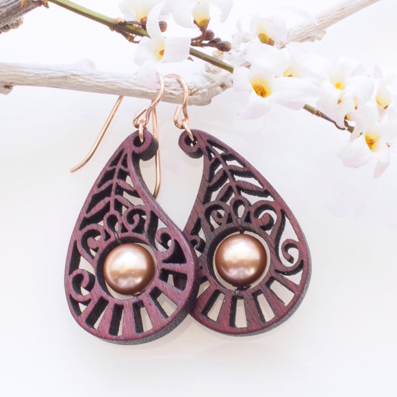 Purpleheart Paisley Earrings on 14k rose gold filled