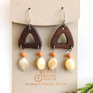 Shell& Walnut Triangle Earrings