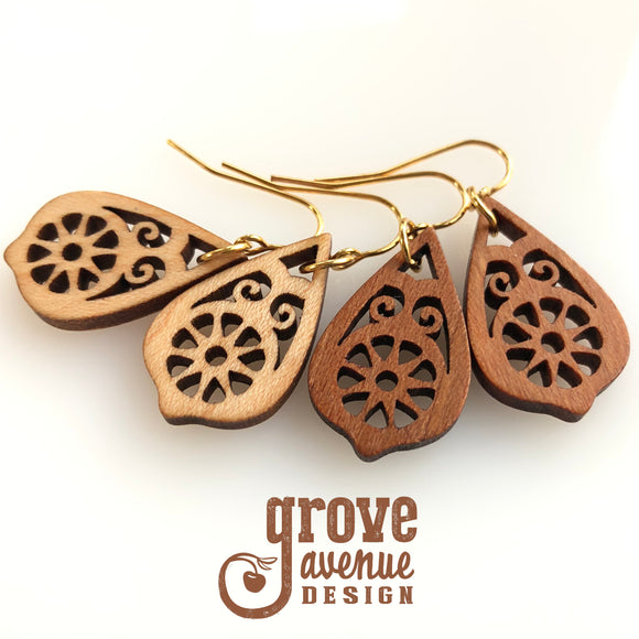 Lacy drop earrings in wood