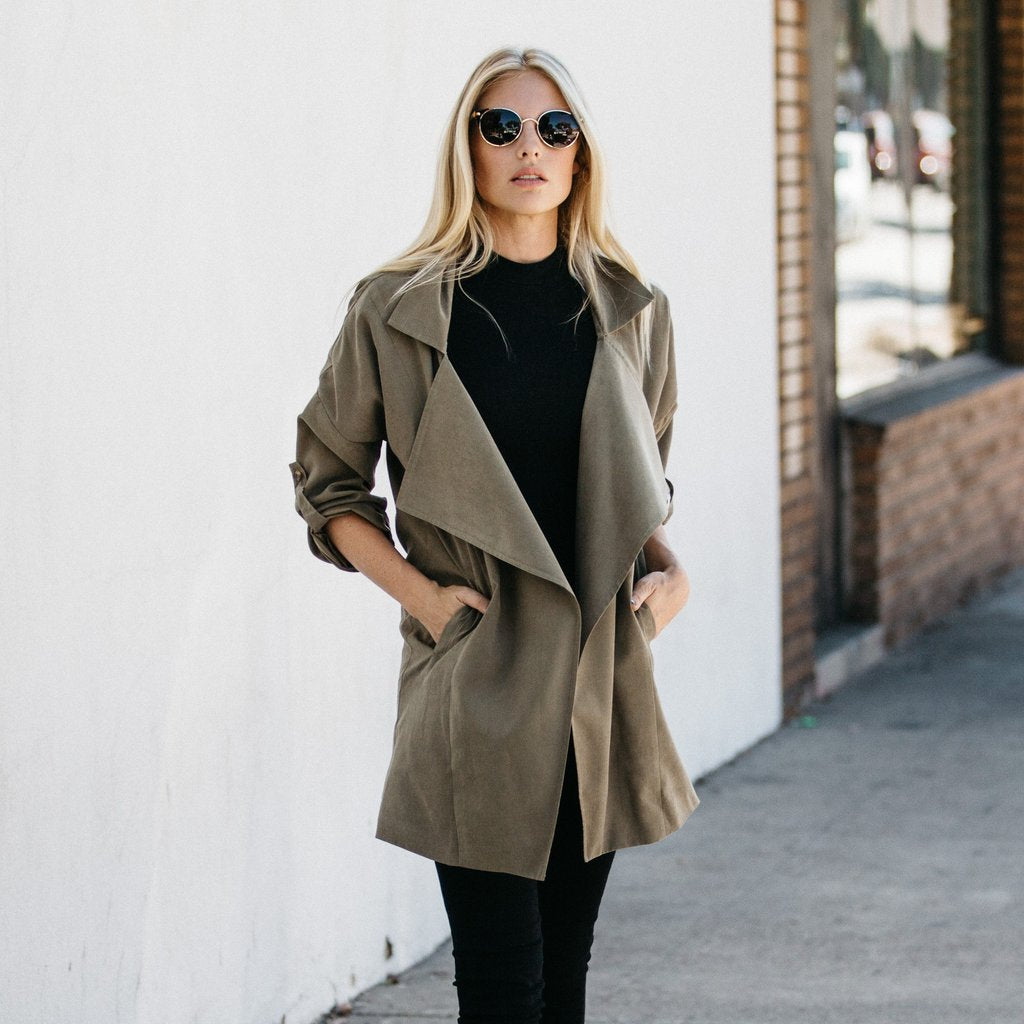 Shawl Collar Trench Coat Olive