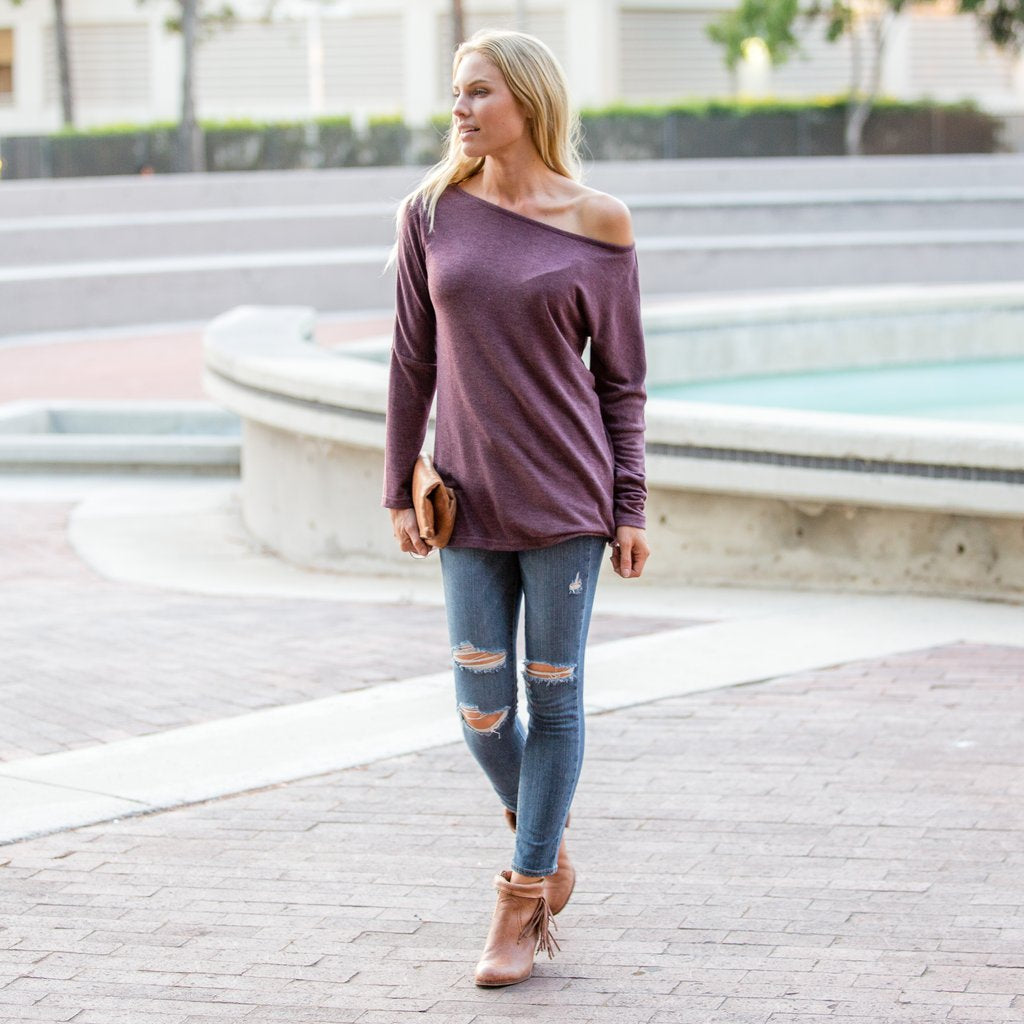 Off Shoulder Pullover Top Burgundy