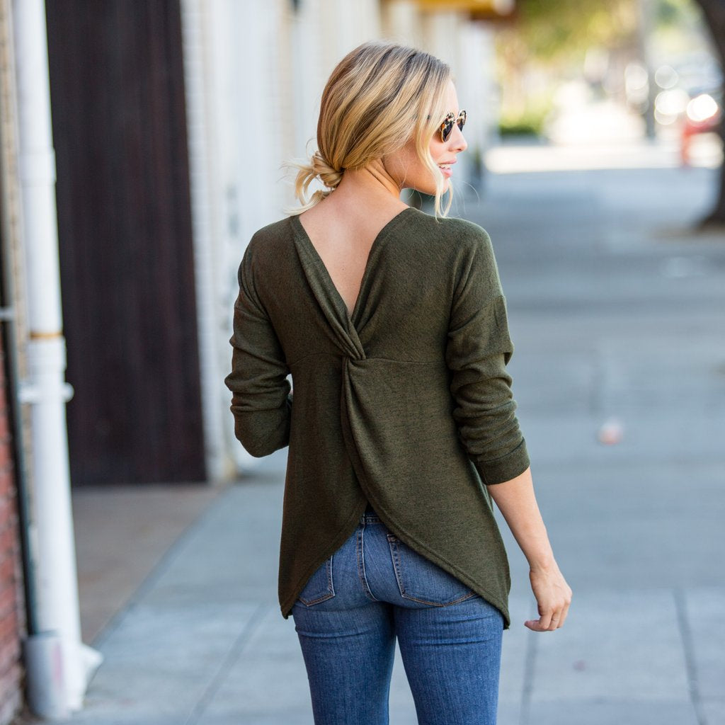 Plush Twisted Back Top Olive