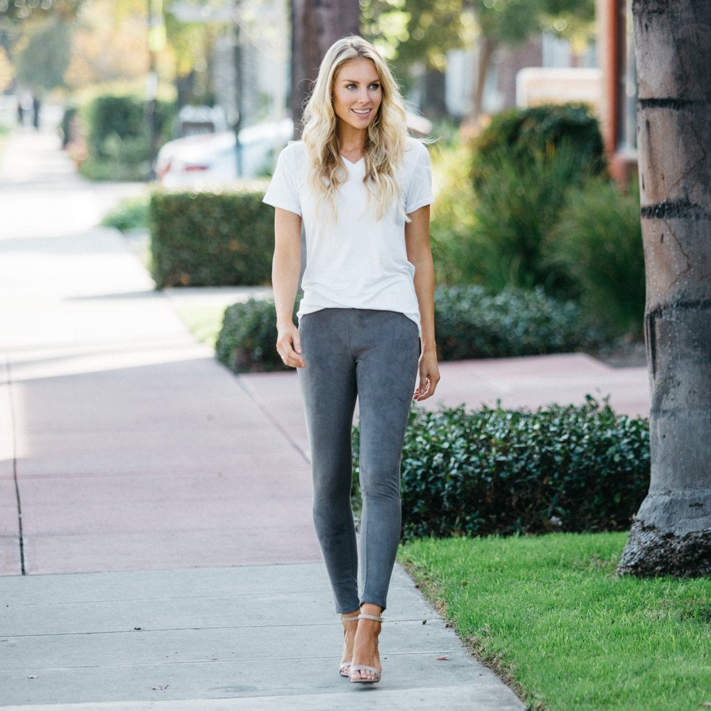Suede Leggings Charcoal Gray