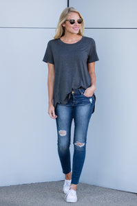 Crew-neck Relaxed Hi-Low Tee - Amaryllis Land