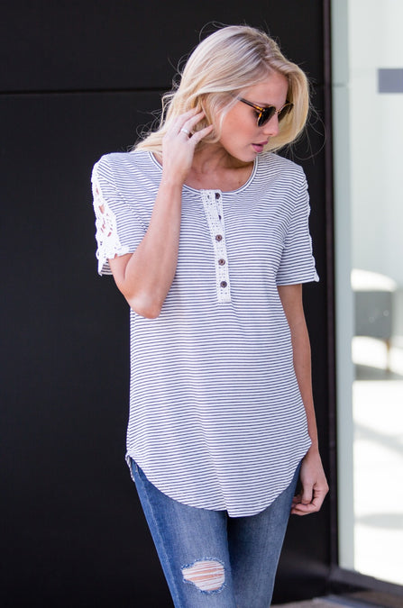 Stripe Crochet Shoulder Henley