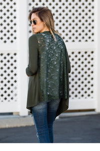 Lace Back Cardigan - Amaryllis Land