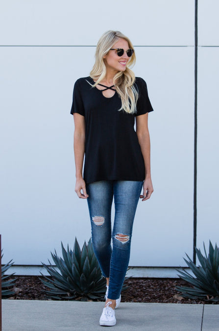 Rounded Criss Cross Tee - Amaryllis Land
