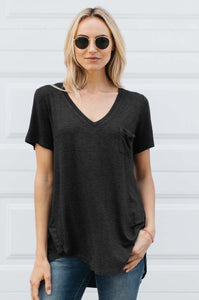 V-Neck Pocket Tee - Amaryllis Land