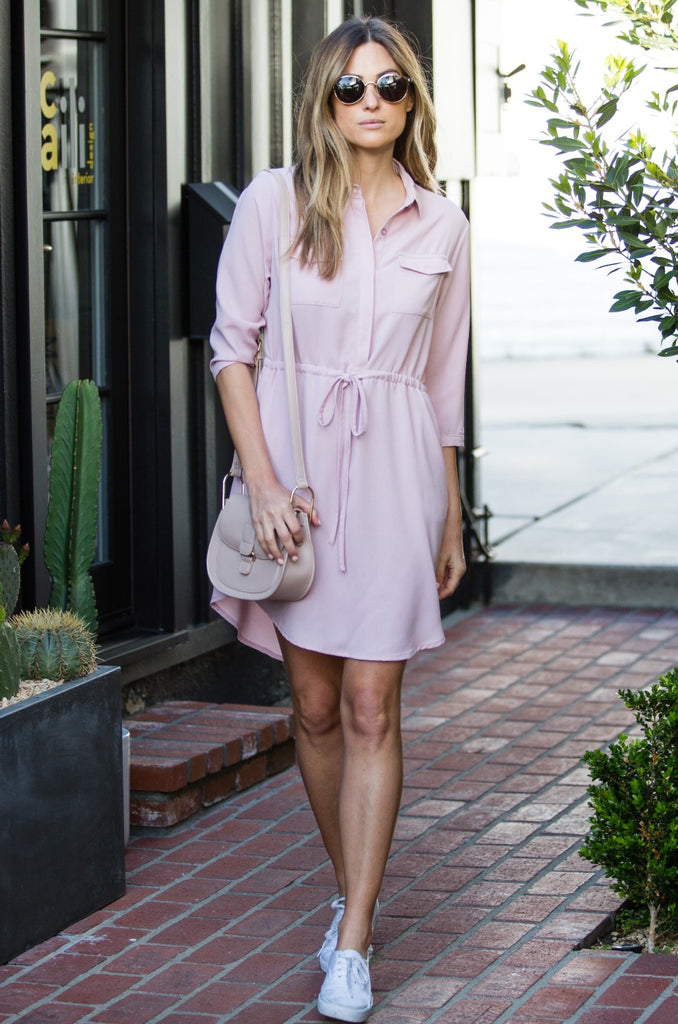 Drawstring Waist Shirtdress - Amaryllis Land