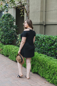 Short Sleeve Cold Shoulder Dress - Amaryllis Land