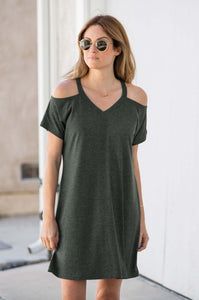 Short Sleeve Cold Shoulder Dress