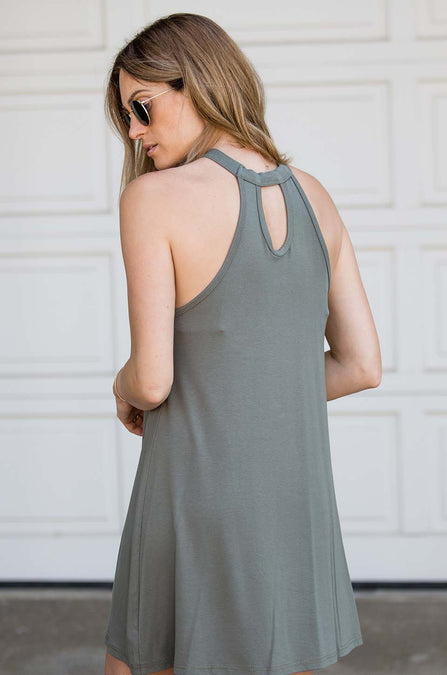 High-Neck Swing Dress - Amaryllis Land
