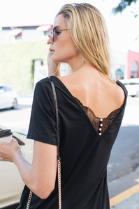 Dainty Lace Button-Back Tee