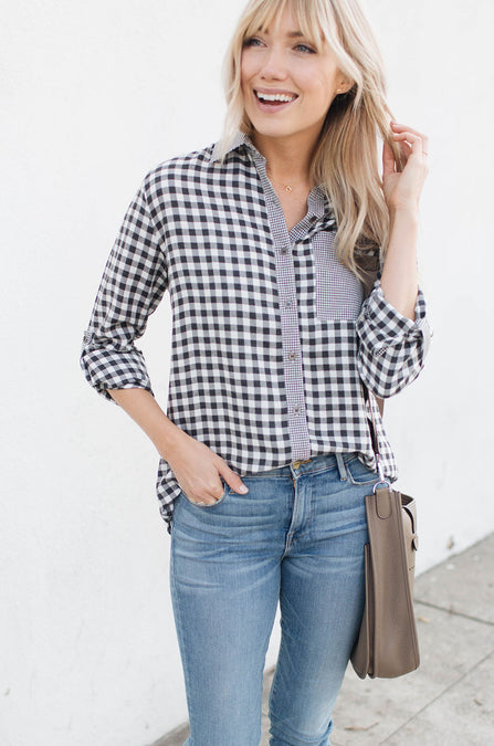 Checkmate Button-Up Blouse