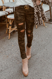 Kara Distressed Muted Camo Skinny Jeans