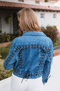 Addy Lace Up Denim Jacket - Amaryllis Land