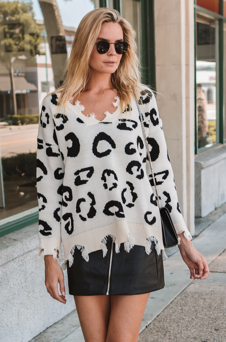Distressed Cheetah Sweater