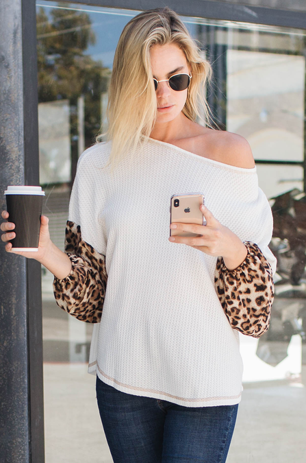 All The Wild Leopard Blouson Top