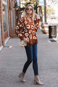 Distressed Cheetah Sweater - Amaryllis Land
