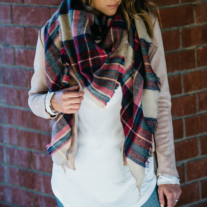 Triangular Plaid Scarf