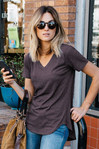 Heathered Loose Cut Casual Short Sleeve Top - Amaryllis Land