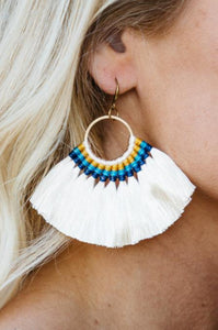 Multicolored Tassel Fan Earrings - Amaryllis Land