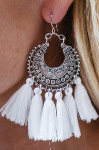 Boho Carving Tassel Earrings