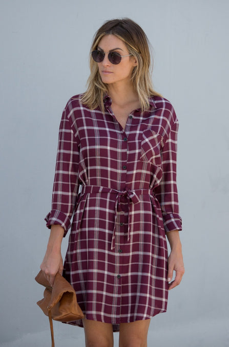 Plaid Tie Waist Collared Dress - Amaryllis Land