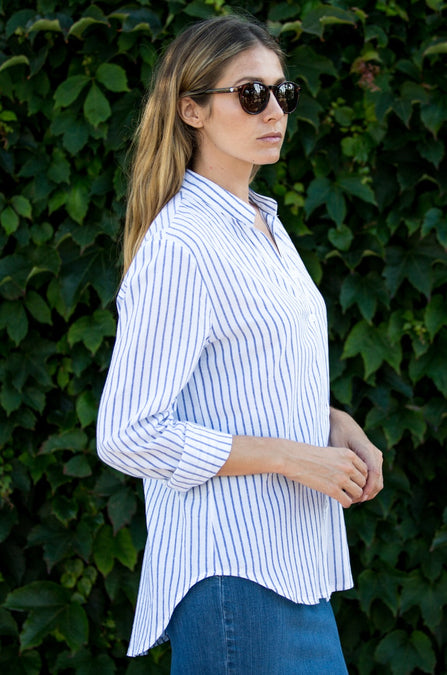Sun-Washed 100% Cotton Pencil Stripe Shirt - Amaryllis Land