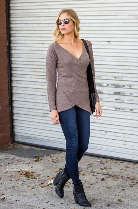 Cross-Wrap Knit Sweater Top - Amaryllis Land