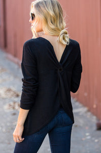 Plush Twisted Back Sweater - Amaryllis Land