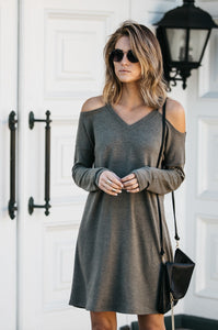 Cold Shoulder Loose Fit Dress - Amaryllis Land