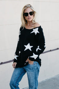 Distressed Oversized Star Sweater - Amaryllis Land