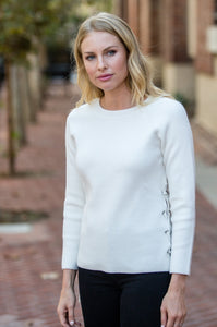 Lace Up Side Sweater - Amaryllis Land